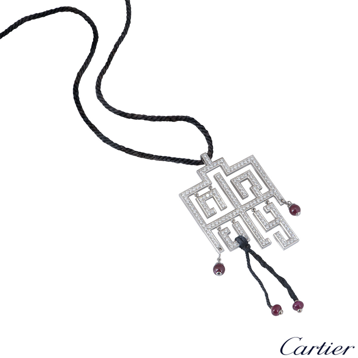 Cartier White Gold Diamond Le Basier Du Dragon Pendant
